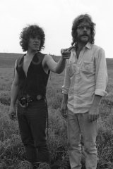 Michael Lang (left) and Chip Monck on site at Woodstock just prior to the event starting.