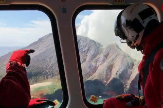 A crew from the Auckland Westpac Rescue Helicopter set down on the island to search for the injured.