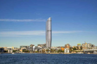 An artist's impression of The Star's proposed 237-metre tower at Pyrmont.