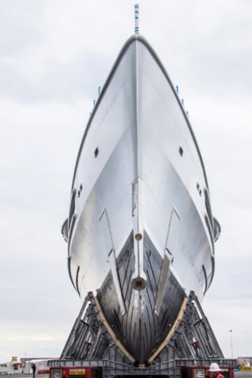 The bow of James Packer's new superyacht, four years in the making.