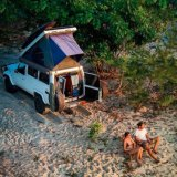 The couple camp along the beach in Penang, in mainland Malaysia. Many of the photos on their blog were taken using a drone.