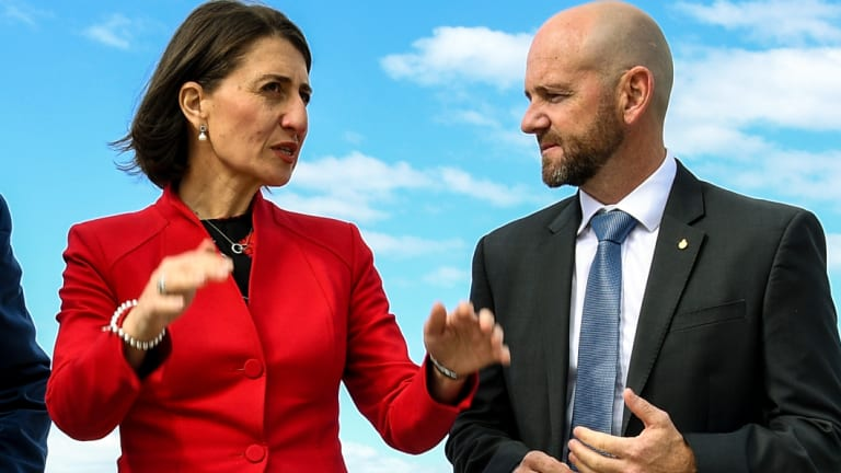 Primary Industries Minister Niall Blair with Premier Gladys Berejiklian, as the government unveiled its marine park plans last month.
