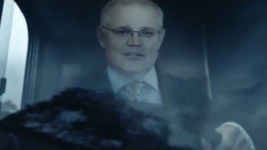 "The ""Stop the bus"" ad depicting Scott Morrison as a bus driver. Christian Porter says the ad has crossed a line."