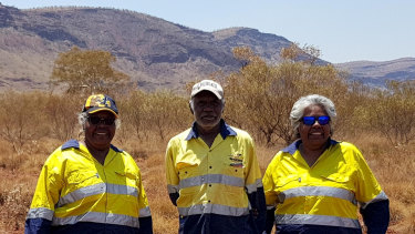 Traditional owners July Hicks, Dennis Hicks Senior and Jocelyn Hicks on country.