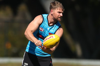 Jake Stringer at training earlier this month.