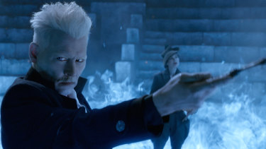 Johnny Depp as Grindelwald in the Fantastic Beasts franchise.