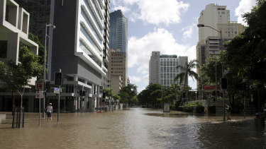 The corner of Albert and Margaret streets during the 2011 flood.