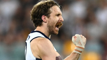 Cats 'super boot' Zach Tuohy launched an incredible barrel past the centre circle at Marvel Stadium.