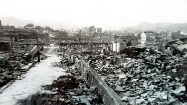 The aftermath of the bombing of Nagasaki, August 1945.