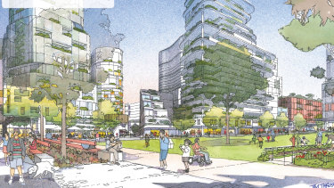 """An artist's impression for one of the options of the redevelopment. The government's preferred masterplan includes two parks and a widened George Street """"boulevarde""""."""