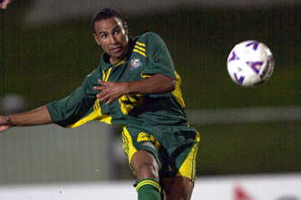Thompson scores one of his 13 goals against American Samoa in 2001 in Coffs Harbour.