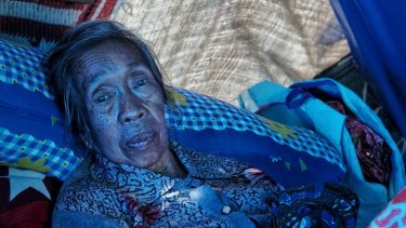 Eighty-year-old Nahlap, was inside the house last Sunday when the earthquake hit. Her two grandsons used their bodies to shield her falling debris.