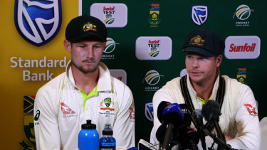 Dark chapter: Cameron Bancroft and Steve Smith admit to the ball tampering in Cape Town.
