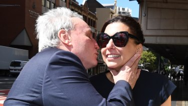 Michael Cranston kisses his wife Gloria after he was found not guilty.