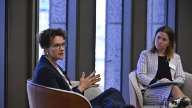 Carol Schwartz in conversation with Arnold Bloch Leibler commercial partner Christine Fleer at an event ahead of International Women's Day.