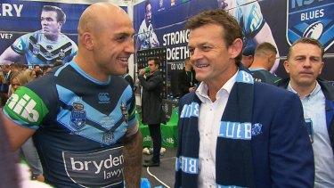 True blue: Blake Ferguson and Adam Gilchrist after Origin II in Perth.