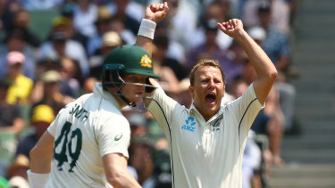 Chink in the armour: Black Caps paceman Neil Wagner has honed in on a perceived weakness for Australia's Steve Smith.
