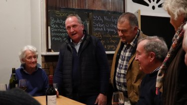 Barnaby Joyce on the campaign trail with candidate Trevor Hicks at the Royal Hotel in Adelong on Saturday night.