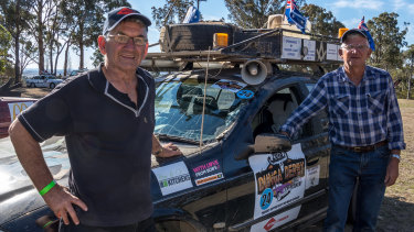 Boat capsize victim Darryl Francis, 75, (left) pictured with his brother Athol (right) at the Dunga Derby charity event.