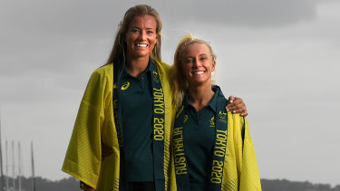 Jaime Ryan (left) and Tess Lloyd after being announced as Australia's representatives in the 49er FX class in Tokyo.