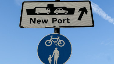 Signs to the port of Ramsgate, an old sea route the British government plans to re-open to ease post-Brexit backlogs on freight between England and Belgium.