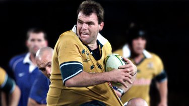 Owen Finegan played 55 Tests for the Wallabies between 1996 and 2003.