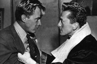 Kirk Douglas as a boxer opposite Arthur Kennedy in the 1949 movie Champion.