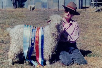 Mary with one of her champion angoras.