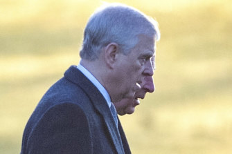 Prince Andrew, in the foreground, and Prince Charles attended an earlier church service.