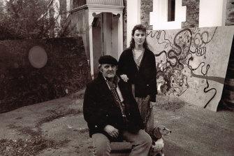 Louise Olsen with her father, artist John Olsen.