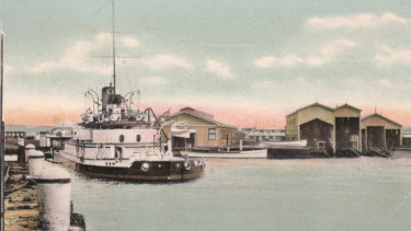 A coloured photo of the HMVS Cerberus at the Williamstown Naval Depot in 1902.