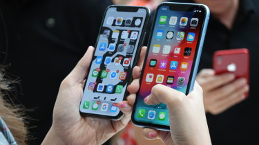 The iPhone XS, alongside the larger but less expensive iPhone XR.
