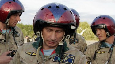Russian President Vladimir Putin at an airfield near the northern city of Murmansk, Russia in 2005.