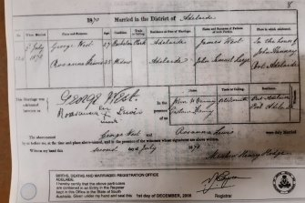 An 1870 marriage certificate for Rosanna Lewis recording her second marriage in Adelaide to George West. Her great-great-grandson Rodney Dowling cites the X mark on this certificate as proof that Lewis was Aboriginal.