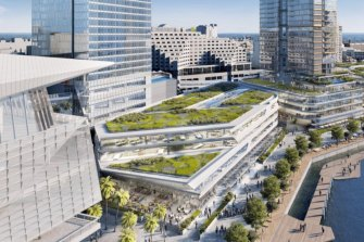 The lower levels of the redeveloped 1980s shopping centre will include campus-style offices and green rooftops.