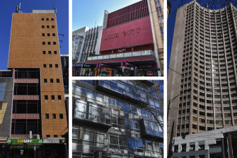 Clockwise from left: The former Hosie's Hotel in Elizabeth Street; Hoyts Mid City Cinemas in Bourke Street; Former MLC building in Collins Street; Former AMP building on Lonsdale Street.