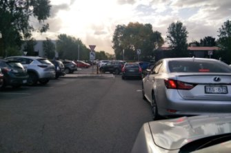 The line of traffic exiting the carpark at The Forage in Fyshwick.