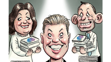 Jake Thrupp flanked by Gina Rinehart and Tony Abbott.