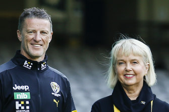 Richmond coach Damien Hardwick with Tigers president Peggy O'Neal.