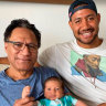 Taniela Paseka with DAD written on his strapping tape; with his late father Leone, inset.