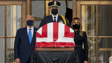 US President Donald Trump and first lady Melania Trump paid their respects to Ruth Bader Ginsburg.