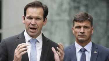 Minister for Resources and Northern Australia Matthew Canavan and Minister for Energy Angus Taylor on  Thursday.