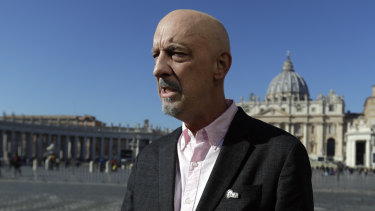 Peter Isely, founding member of Ending Clergy Abuse in St. Peter's Square on Sunday.