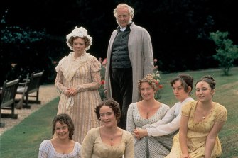 The Bennet family as seen in the BBC's 1995 adaptation of Jane Austen's 1813 novel, Pride and Prejudice. Mr and Mrs Bennet, with (l-r) Lydia, Elisabeth, Jane, Catherine and Mary.