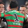 The Rabbitohs and Tigers match erupted early on after Josh Reynolds was put on report for dangerous tackle.
