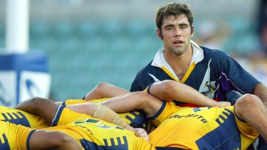 Fresh faced: A younger Cameron Smith plays against the Eels at Pirtek Stadium in 2004.