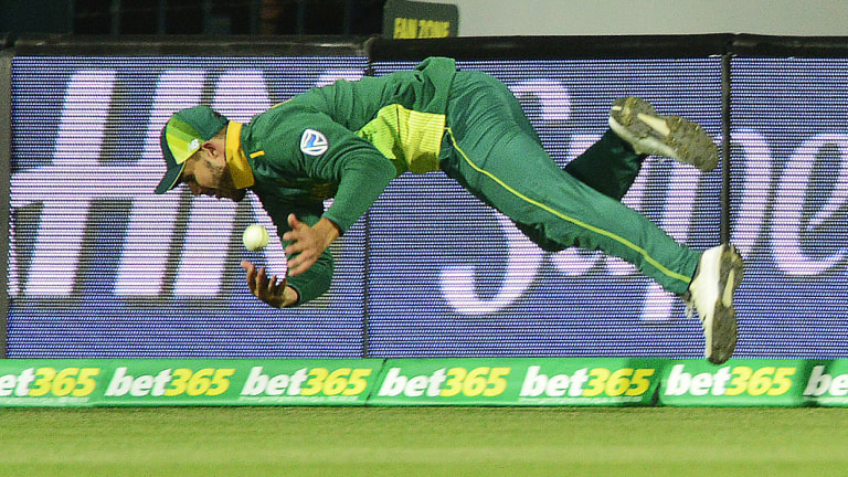 Spilled: Proteas' Aiden Markram drops a difficult chance in the outfield.