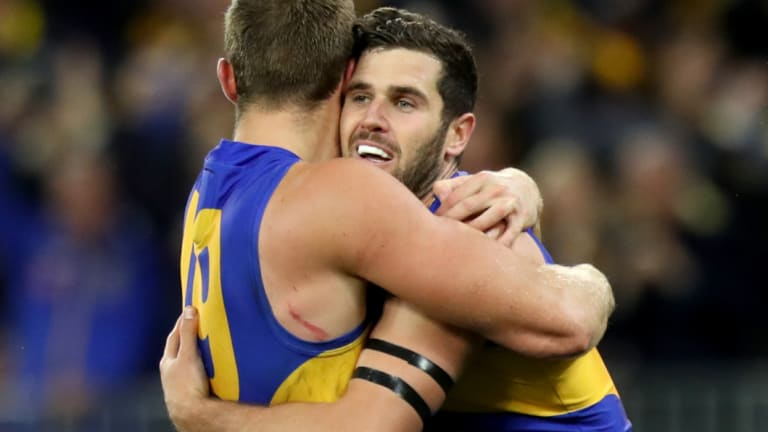 Jack Darling (right) kicked a very big goal late in the final quarter for the Eagles.
