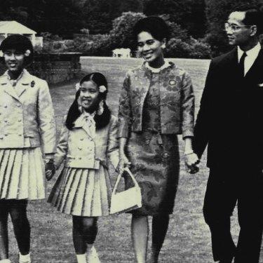The Thai royal family in 1966 in England, from left: Prince Vajiralongkorn, Princess Sirindhorn, 11, Princess Chulabhorn, 9, Queen Sirikit, King Bhumibol and Princess Ubolratana.