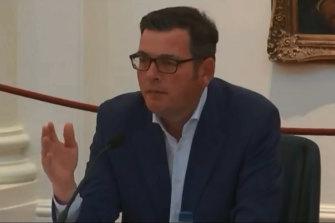 Premier Daniel Andrews addresses a public estimates hearing in Melbourne on Friday.